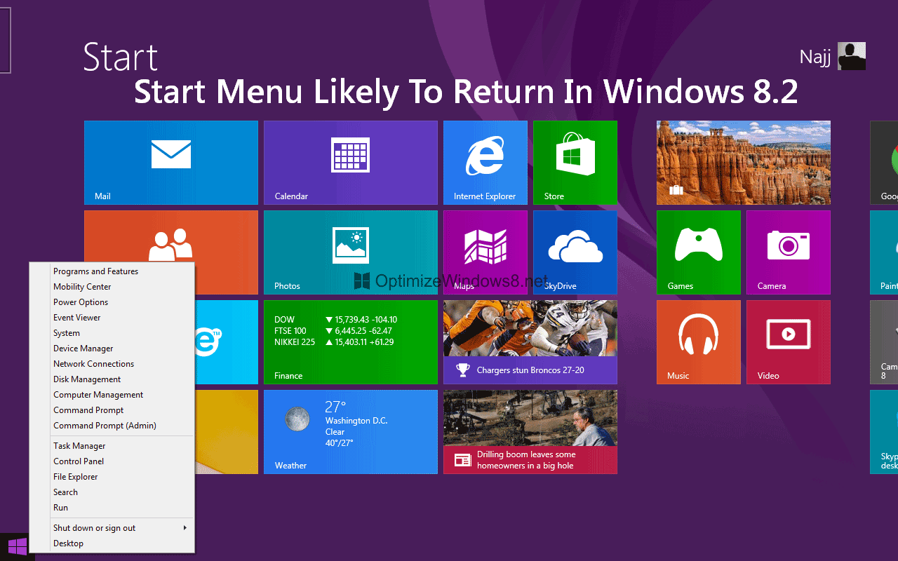 Windows 8.2 is Coming with Start Menu